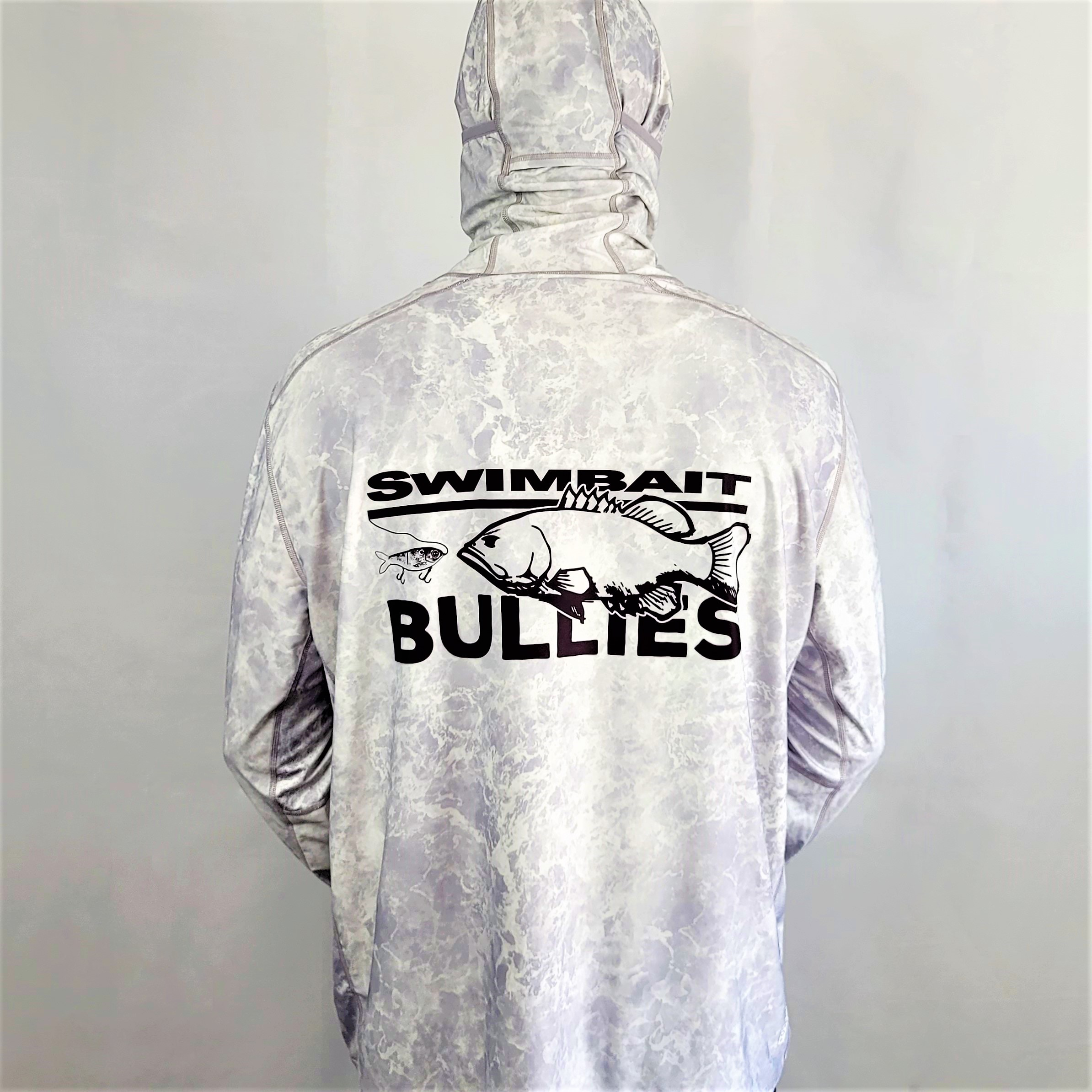 "Swimbait Universe X BFB Collab Hooded Sun Shirt ""Grey Water"""