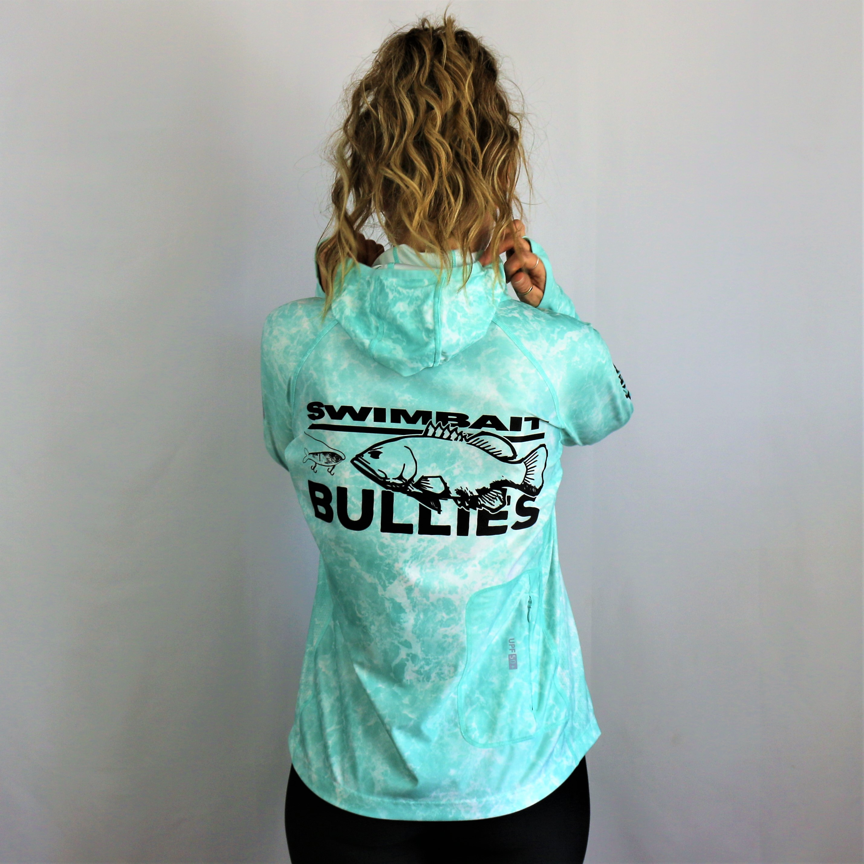 "Swimbait Universe X BFB Collab Women's Hooded Sun Shirt ""Aqua Water"""