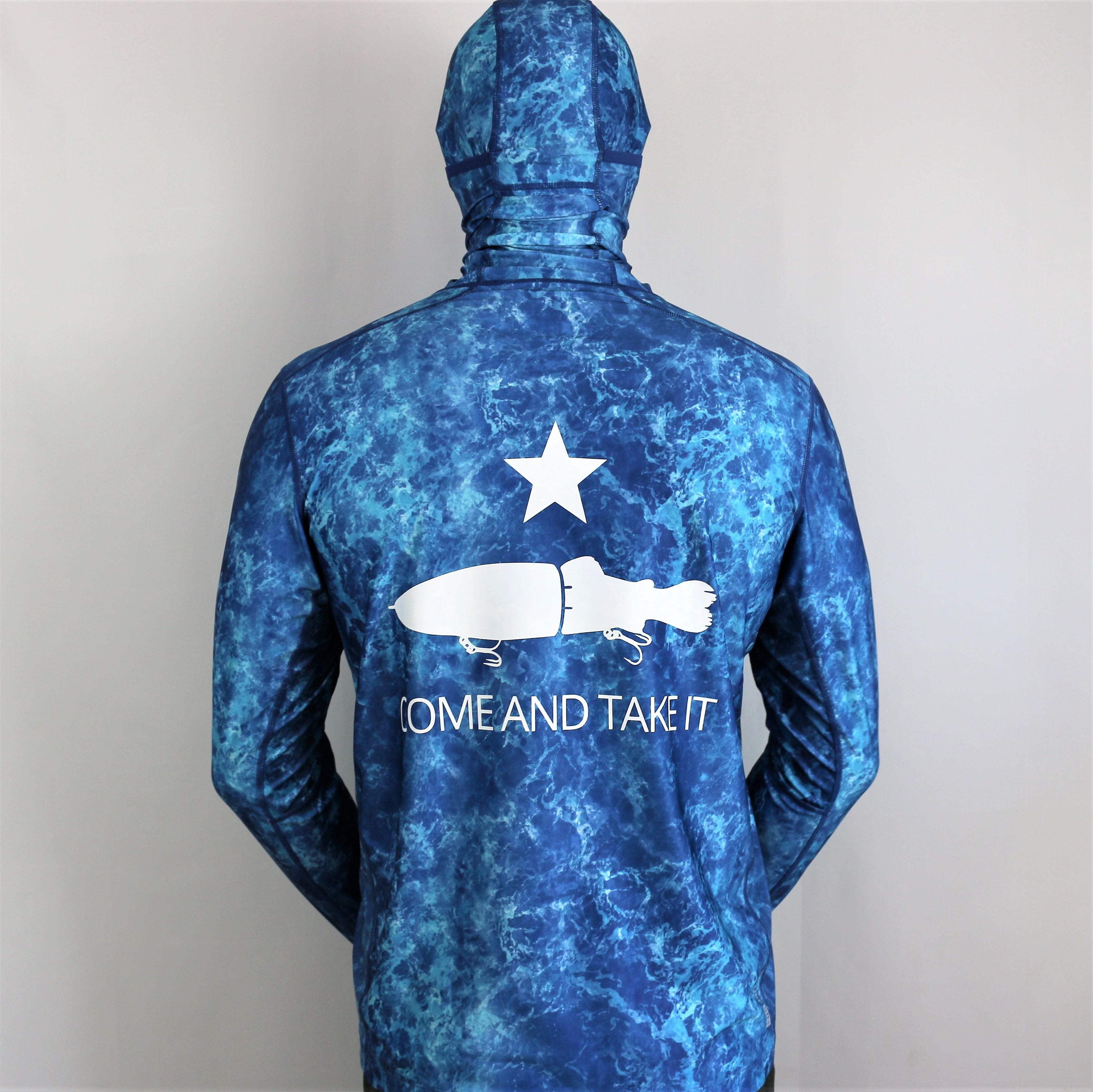 """Come and Take it Hooded Sun Shirt """"Blue Water"""""""